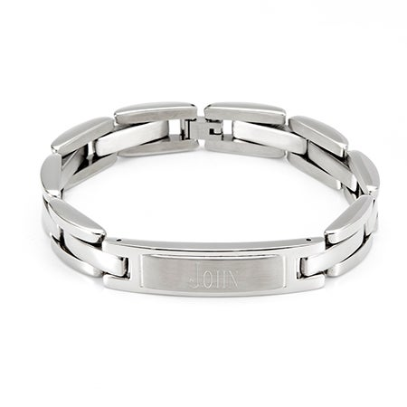 Men's Stainless Steel ID Engravable Bracelet