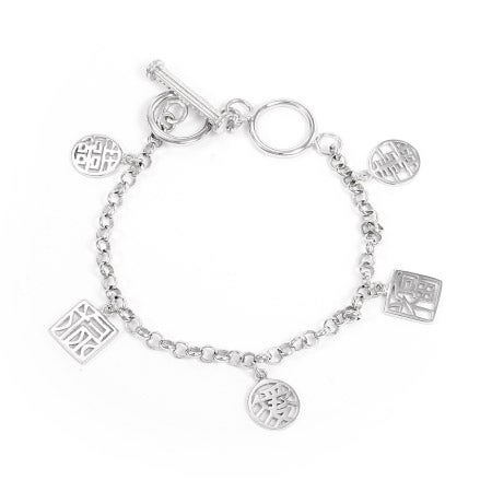 Chinese Fortune Sterling Silver Charm Bracelet | Eve's Addiction®