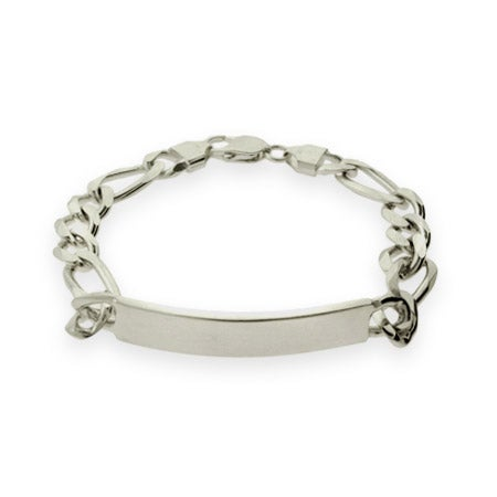 Mens Sterling Silver Figaro ID Bracelet | Eve's Addiction®