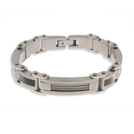 Men's Carbon Fiber and Stainless Steel Bracelet | Eve's Addiction