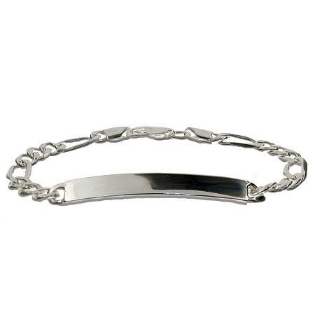 Sterling Silver 7 Inch Figaro Kids ID Bracelet | Eve's Addiction®
