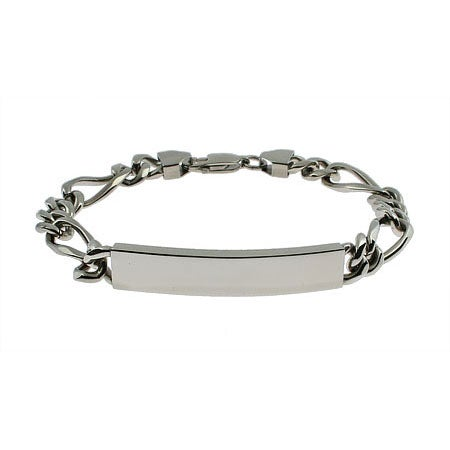 Engravable Stainless Steel Figaro Link ID Bracelet | Eve's Addiction®