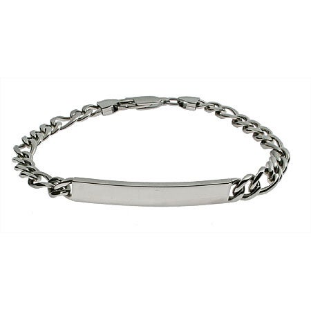 Slim Figaro Link Stainless Steel ID Bracelet | Eve's Addiction®