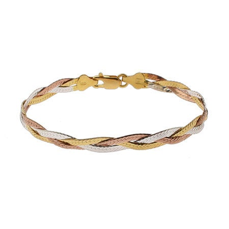 Triple Tone Sterling Silver Braided Bracelet | Eve's Addiction®
