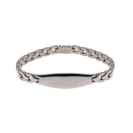 Smooth Link Engravable Oval ID Message Bracelet | Eve's Addiction®