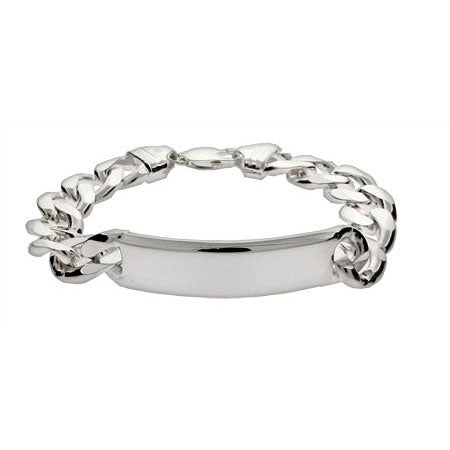 Men's Heavy Curb Link Sterling Silver ID Bracelet | Eve's Addiction®