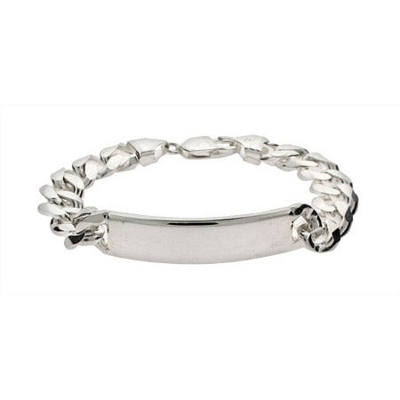 Engravable Men's Silver 8 Inch Curb Link ID Bracelet