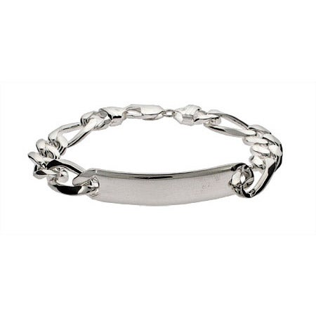 Mens Heavy Sterling Silver Figaro ID Bracelet | Eve's Addiction®
