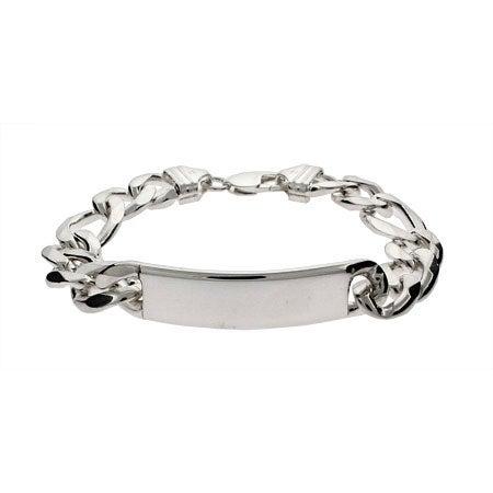 Mens Heavy Gauge Sterling Silver Figaro ID Bracelet | Eve's Addiction®