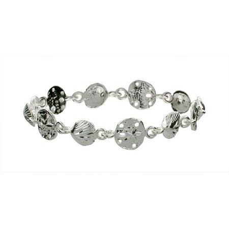 Seashell and Sand Dollar Sterling Silver Bracelet | Eve's Addiction®