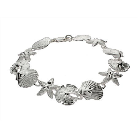 Sterling Silver Seashell, Sand Dollar and Starfish Bracelet | Eve's Addiction®