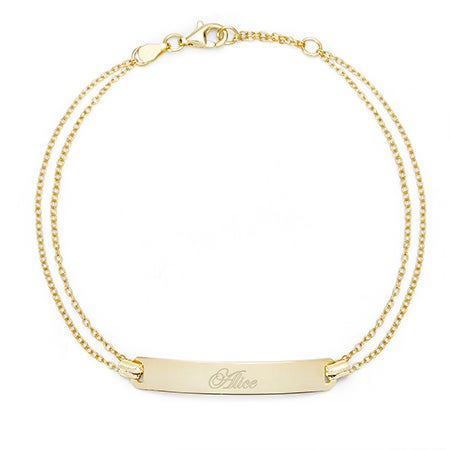 Engravable Name Bar Gold Plated Bracelet | Eve's Addiction®