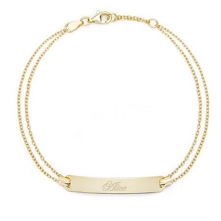 Engravable Name Bar Gold Plated Bracelet | Eve's Addiction®