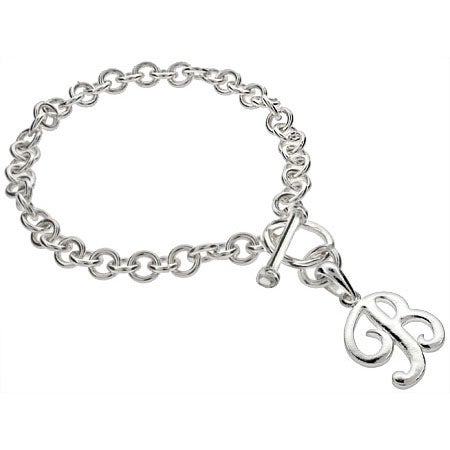 Silver Link Chain Bracelet with Initial Charm | Eve's Addiction®