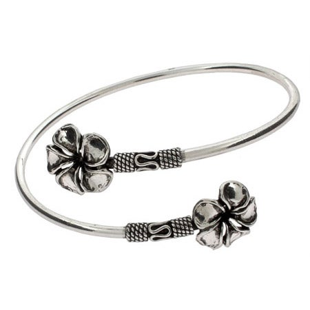 Sterling Silver Bali Style Hibiscus Bangle Bracelet | Eve's Addiction®