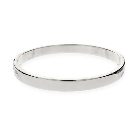 5mm Flat Engravable Sterling Silver Bangle Bracelet | Eve's Addiction®