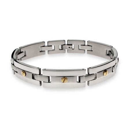 Designer Inspired Men's Stainless Steel Bracelet with Gold Screw Accents | Eve's Addiction®