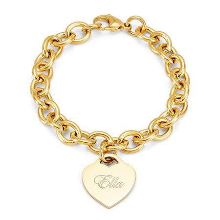 Stainless Steel Gold Heart Tag Bracelet | Eve's Addiction®