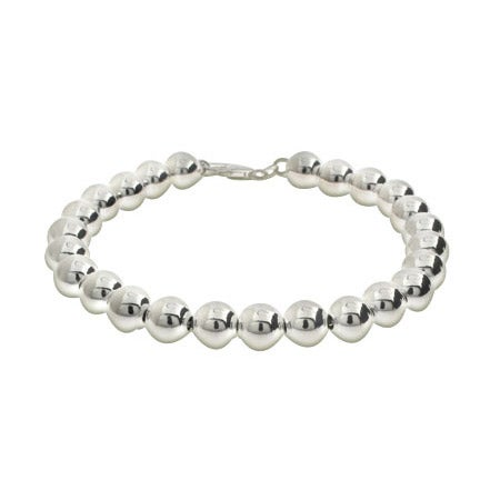 8mm Sterling Silver Bead Bracelet | Eve's Addiction®