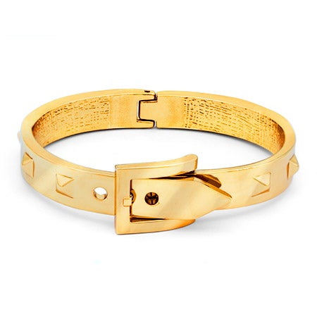 Designer Inspired Gold Studded Belt Buckle Bangle Bracelet | Eve's Addiction®