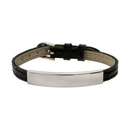 Engravable Black Leather Buckle ID Bracelet | Eve's Addiction®