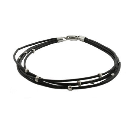 Sterling Silver Black Beaded Multi Strand Bracelet | Eve's Addiction®