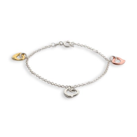 Three Tone Triple Hearts Bracelet | Eve's Addiction®