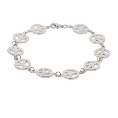 Sterling Silver Peace Sign Bracelet | Eve's Addiction®