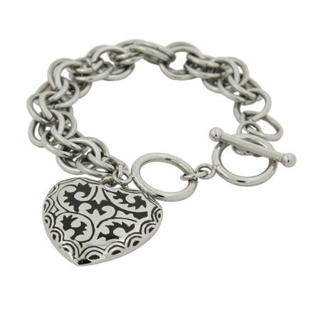 Bali Style Black Enamel Heart Link Stainless Steel Bracelet | Eve's Addiction®