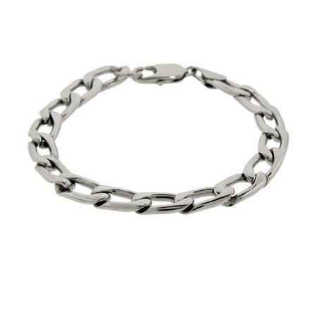 Men's Stainless Steel Flat Curb link Bracelet | Eve's Addiction