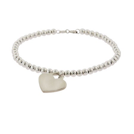 Sterling Silver Beaded Heart Tag Bracelet | Eve's Addiction®