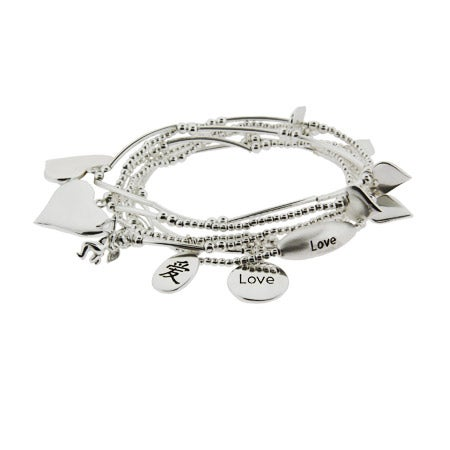 Good Fortunes Sterling Silver Love Charm Bracelet Set | Eve's Addiction®