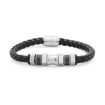 Nitro Stainless Steel Black Braided Leather Men's Bracelet | Eve's Addiction®