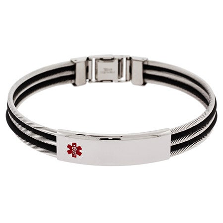 Men's Engravable Cable Style Medical ID Bracelet | Eve's Addiction®