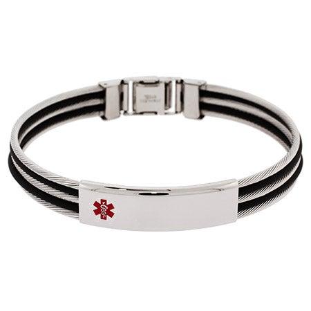 Men's Engravable Cable Style Medical ID Bracelet | Eve's Addiction®