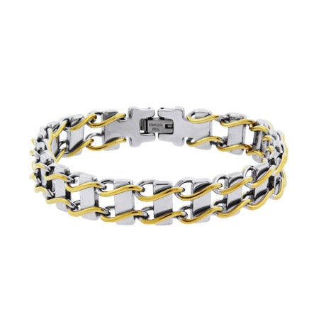 Mens Two Tone Ladder Link Steel Bracelet | Eve's Addiction®