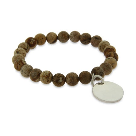 Genuine Jasper Power Bead Bracelet with Customizable Round Tag | Eve's Addiction®