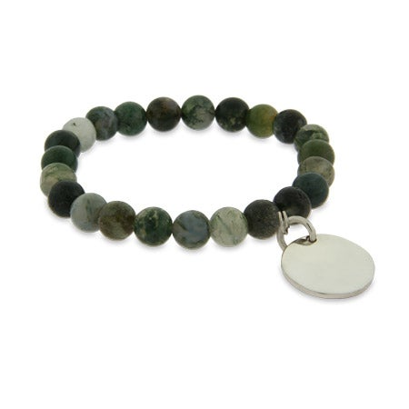 Genuine Moss Agate Power Bead Bracelet with Engravable Charm | Eve's Addiction®