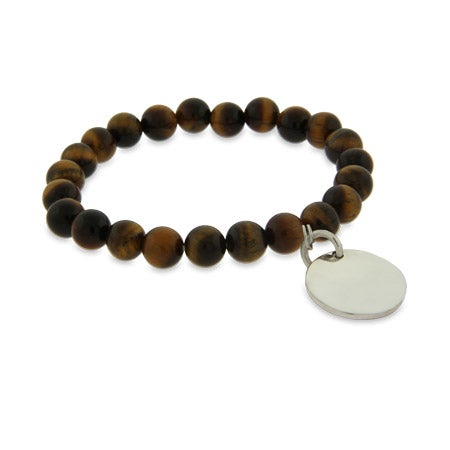 Engravable Genuine Tigers Eye Power Bead Bracelet | Eve's Addiction®