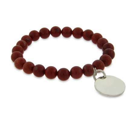 Engravable Genuine Red Jasper Power Bead Bracelet | Eve's Addiction
