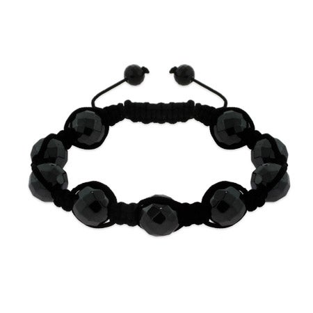 Black Faceted Hematite Bead Luck Shamballa Inspired Bracelet | Eve's Addiction®