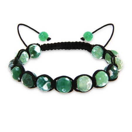 Genuine Stone Green Agate Strength Shamballa Style Bracelet | Eve's Addiction®