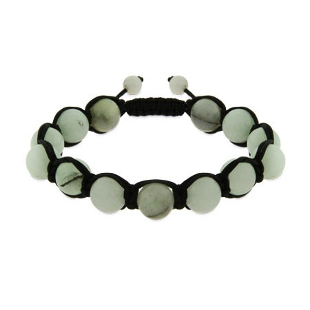 Light Jade Genuine Stone Balance Shamballa Style Bracelet | Eve's Addiction®