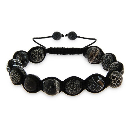 Crackled Black Agate Shamballa Inspired Bracelet | Eve's Addiction®