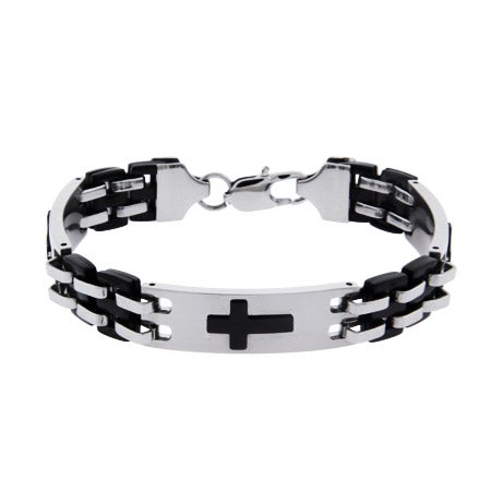 Men's Engravable Triple Cross Linked Bracelet | Eve's Addiction®