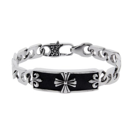 Men's Stainless Steel Bracelet with Cross and Fleur de Lis Design | Eve's Addiction®