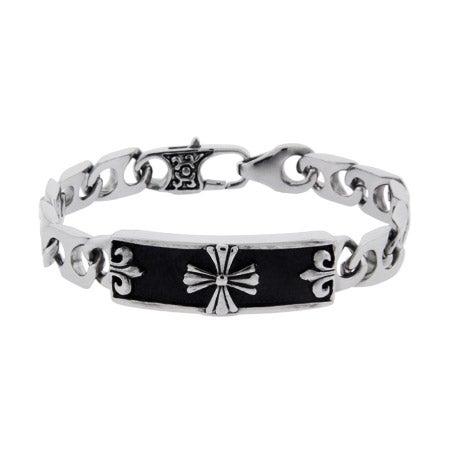Men's Stainless Steel Bracelet with Cross and Fleur de Lis Design   Eve's Addiction®