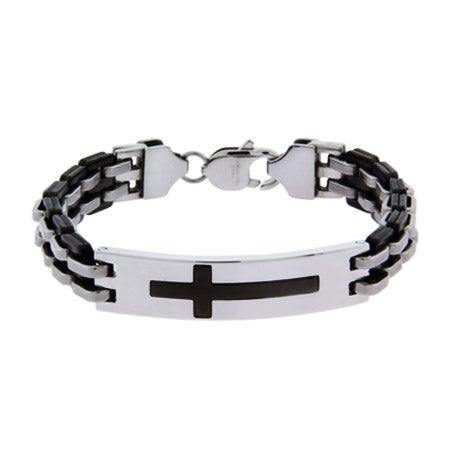 Engravable Mens Cross Bracelet in Stainless Steel | Eve's Addiction®