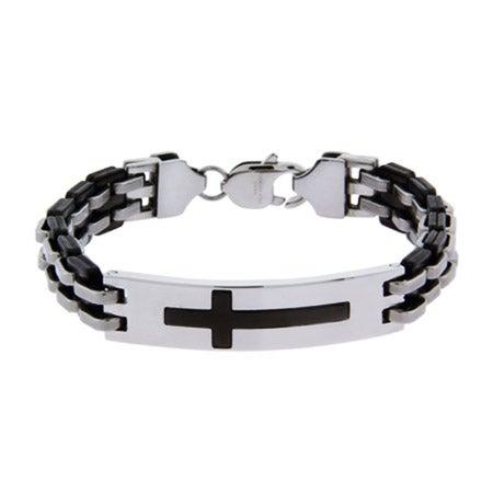 Engravable Mens Cross Bracelet in Stainless Steel | Eve's Addiction®