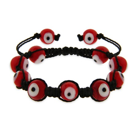 Red Evil Eye Shamballa Style Bracelet | Eve's Addiction®